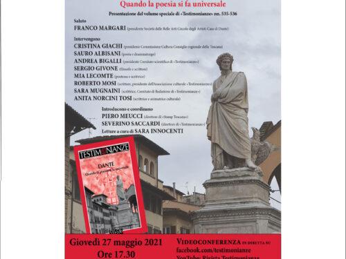 Presentazione TESTIMONIANZE giovedì 27 maggio, ore 17.30 dalla Casa di Dante  Roberto MOSI