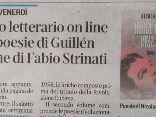 FONTE: Il Tirreno Nicolas Guillén – Fabio Strinati – EDIZIONI IL FOGLIO
